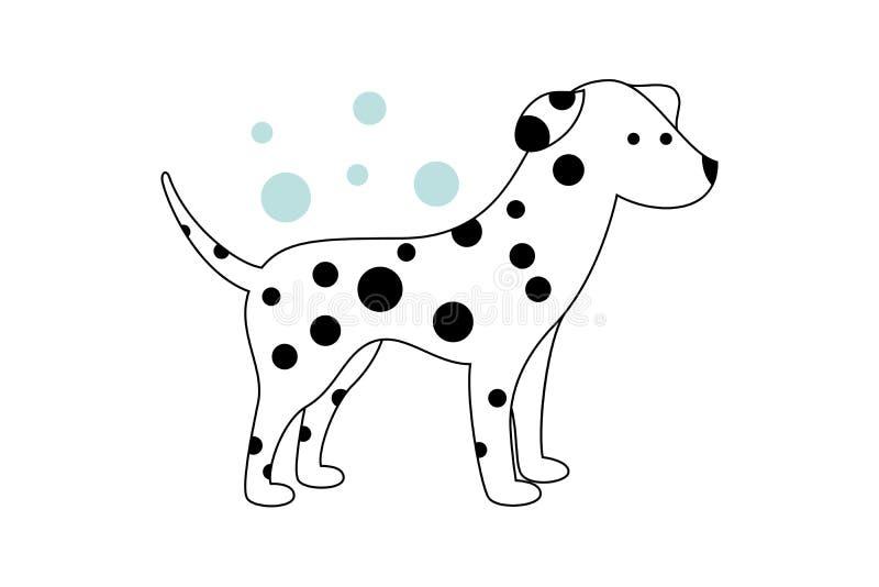 与交通事故多发地段的空白小狗 在背景的蓝色泡影 向量例证