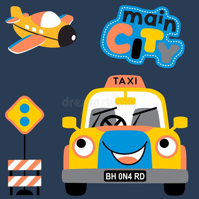 与交通标志传染媒介的愉快的运输动画片 向量例证
