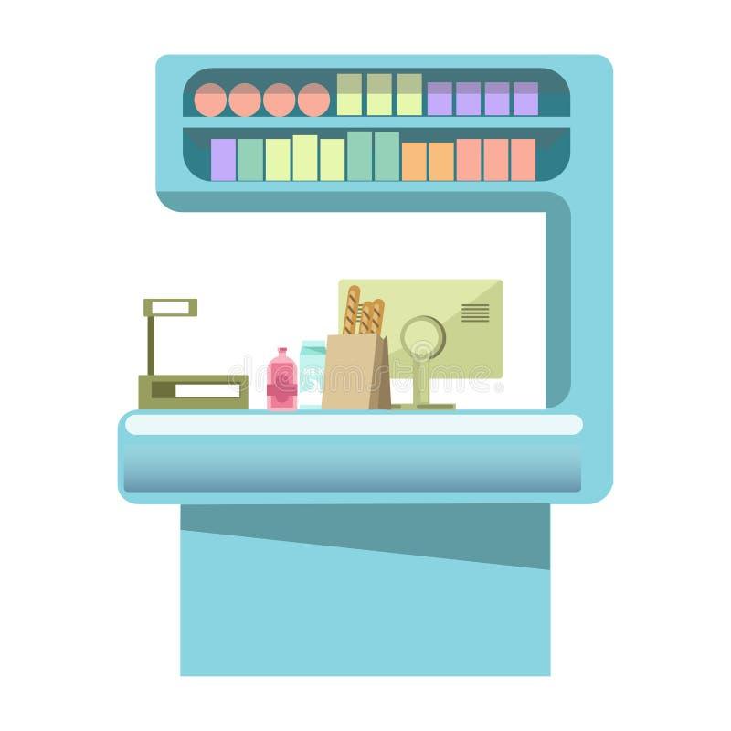 与产品的出纳员柜台在线和大计算机显示器 库存例证