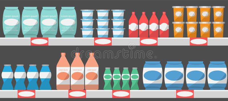 与产品,传染媒介例证的超级市场架子 皇族释放例证