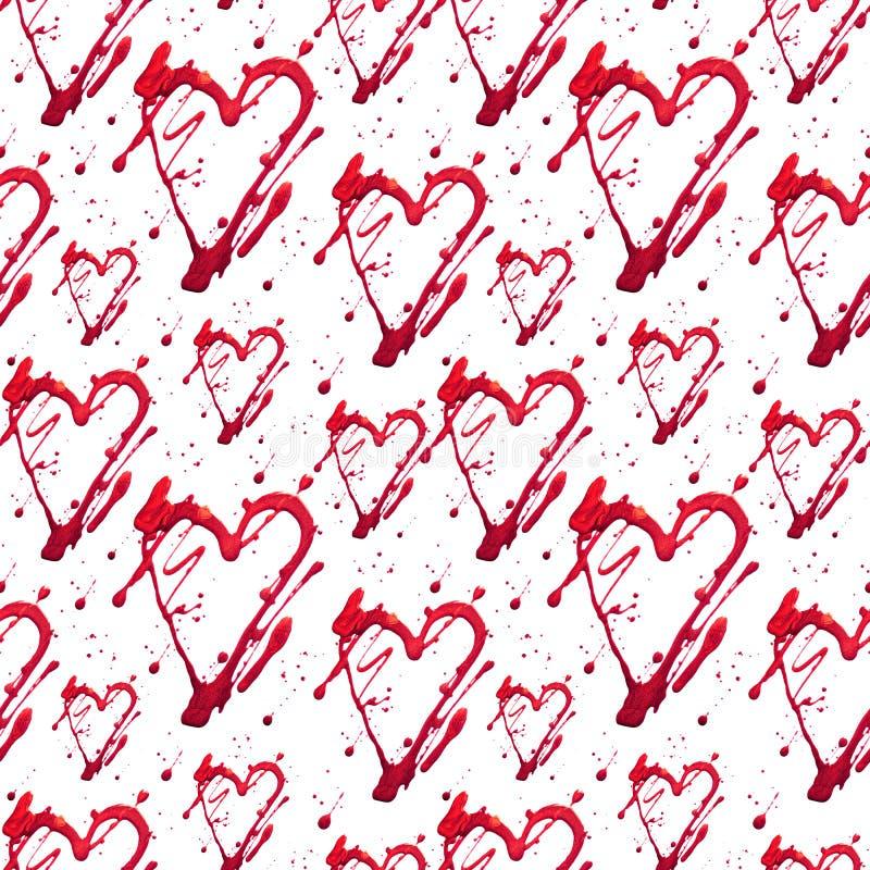 与亮光闪烁心脏和小点的无缝的样式 金子红色凹道污点 手工制造 背景查出的白色 织品 向量例证