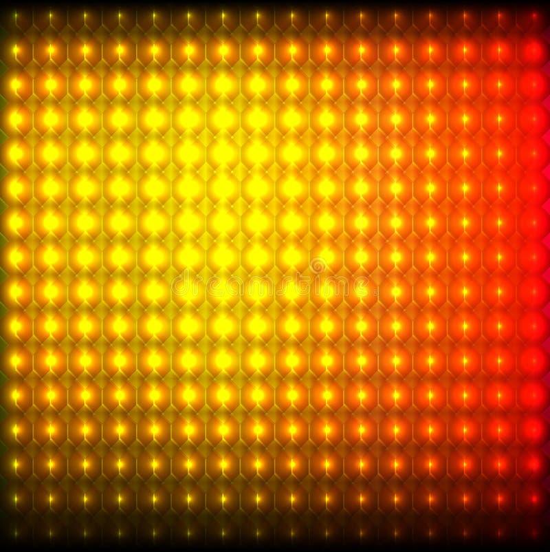 与亮点发光的前灯反射性黄色红色抽象马赛克背景 向量例证