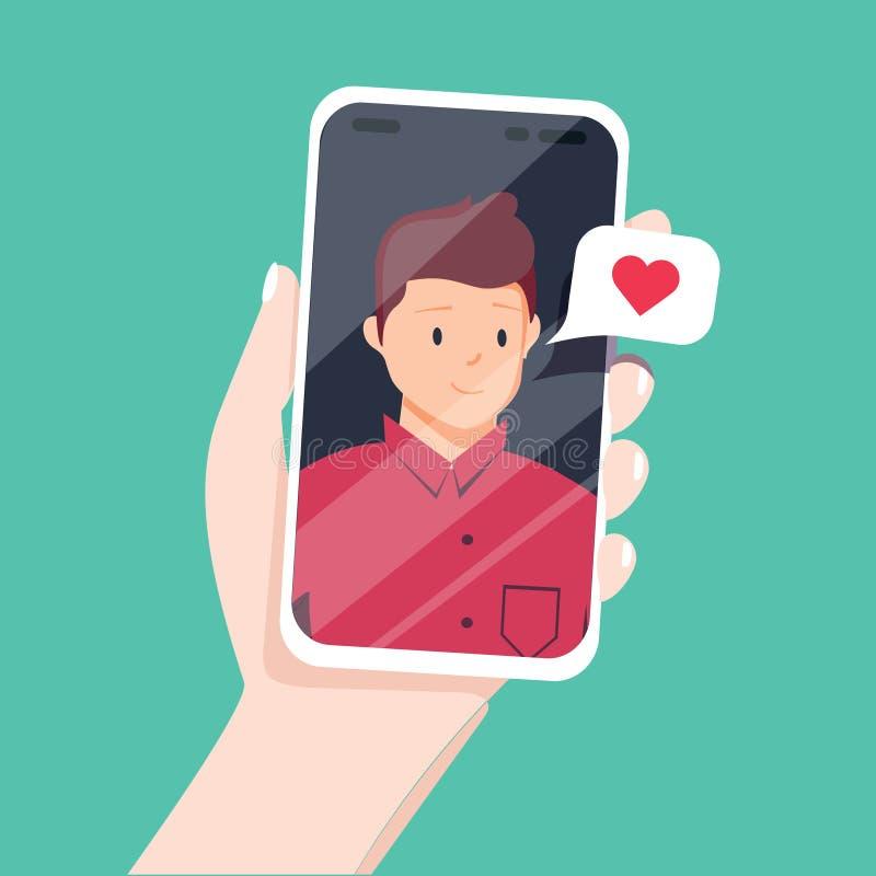 与亲人的录影电话 拿着有男朋友的女性手智能手机在屏幕上 网上约会 皇族释放例证