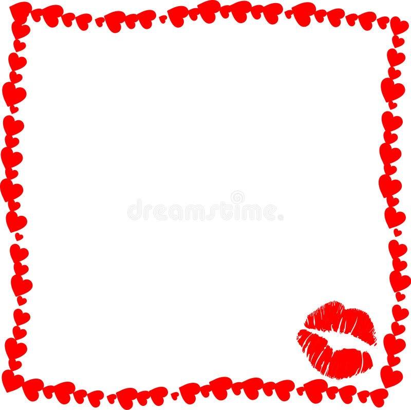 与亲吻标记剪影的红色葡萄酒心脏框架在白色的角落 皇族释放例证