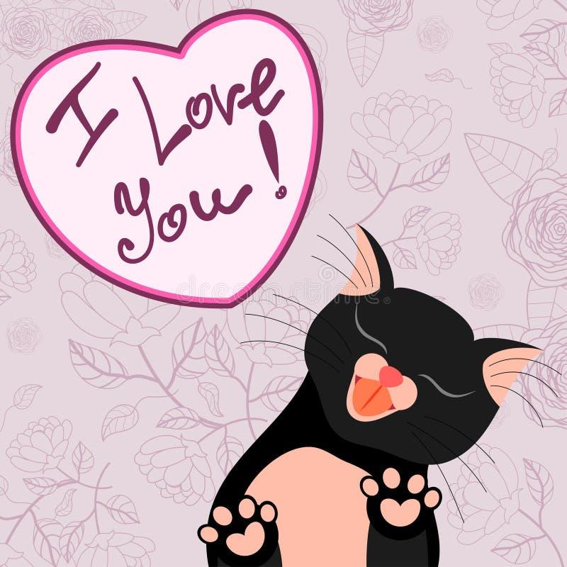 与亲吻您的嫩猫的逗人喜爱的浪漫卡片 皇族释放例证