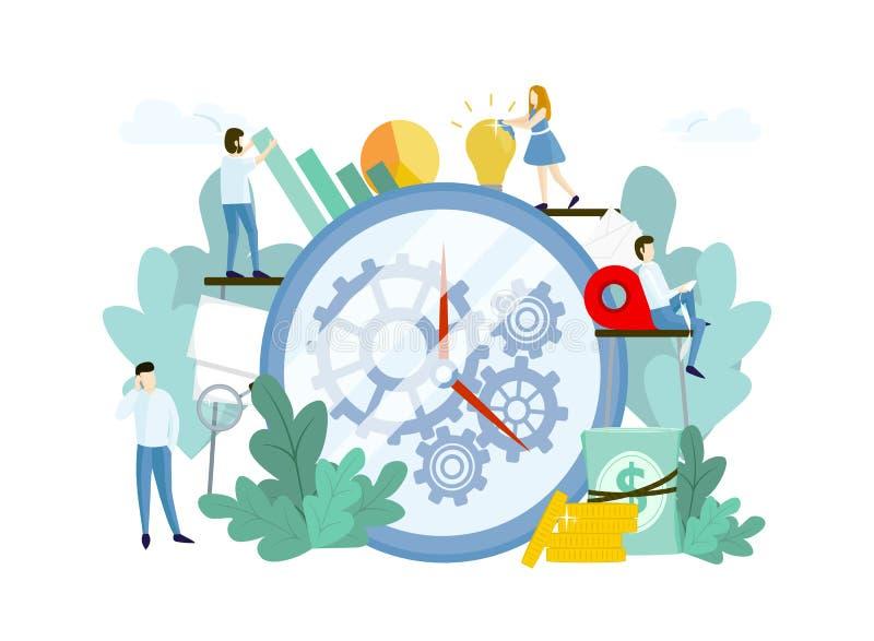 与人、巨大的时钟和齿轮的工作过程 库存例证