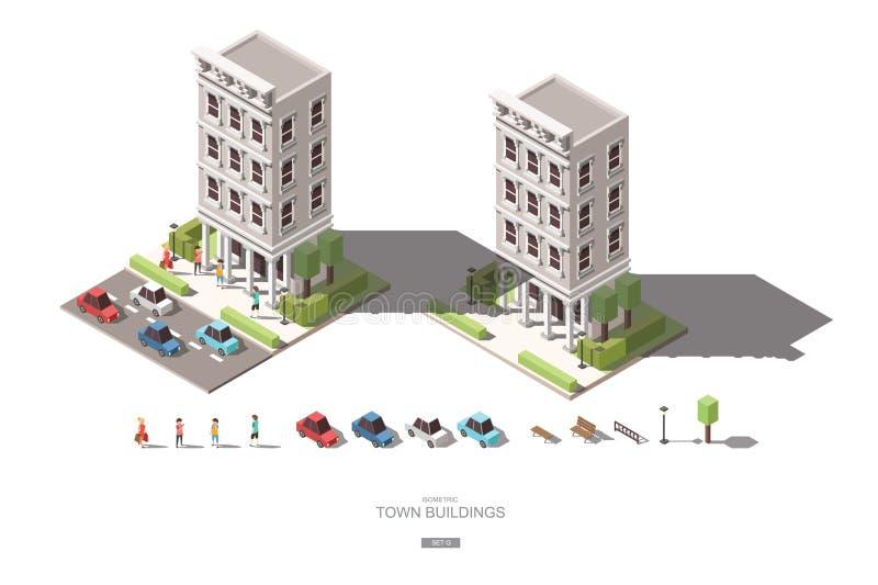 与人、汽车和树的等量镇大厦导航象 向量例证