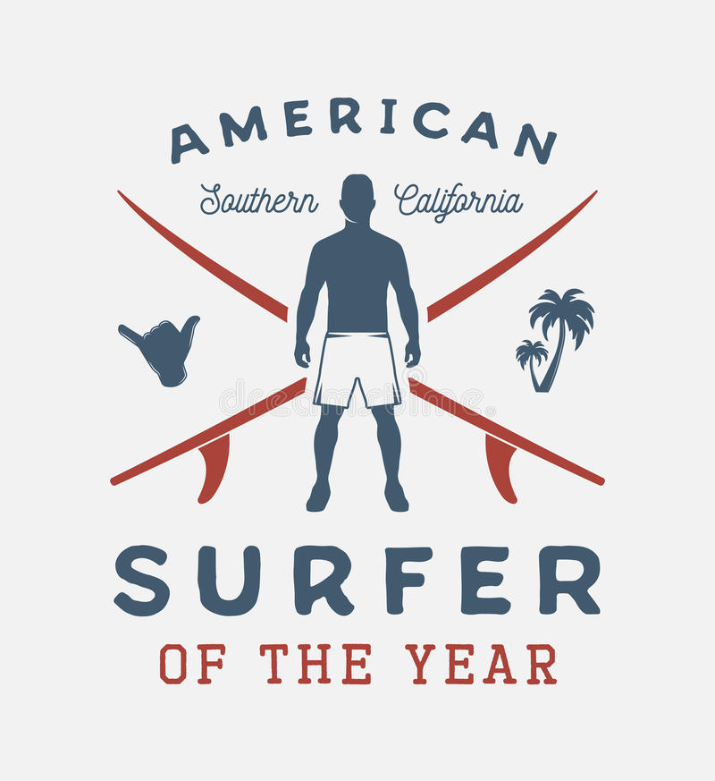 与人、shaka、棕榈和水橇板的葡萄酒冲浪的海报 向量例证