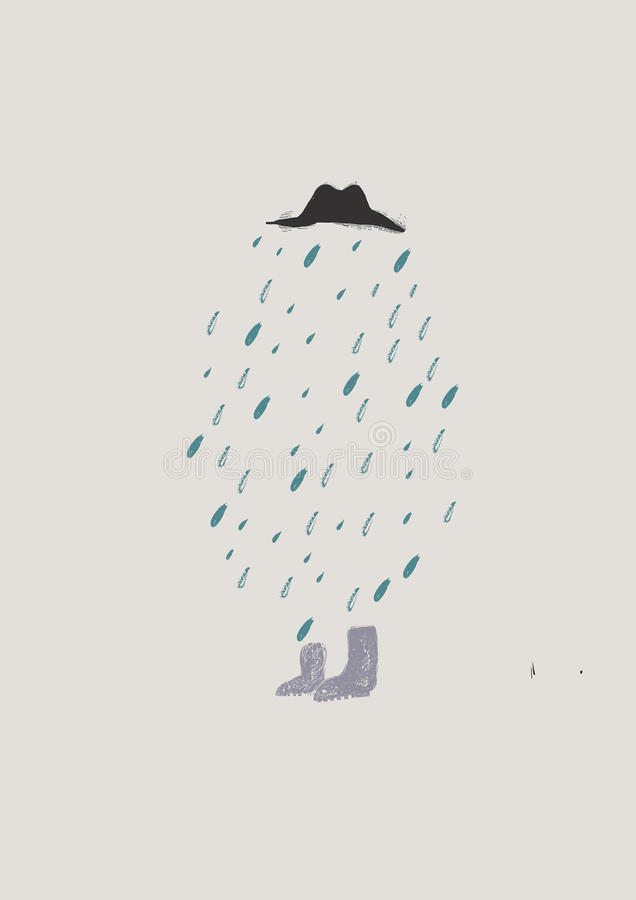 与人和雨的背景 向量例证