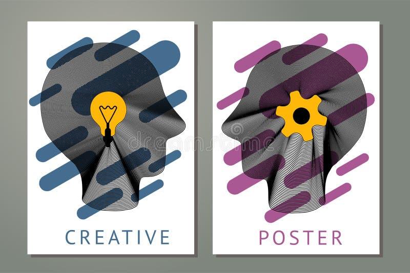 与人头、齿轮和灯的抽象构成 与扭索状装饰线的创造性概念 与镶边的海报 向量例证