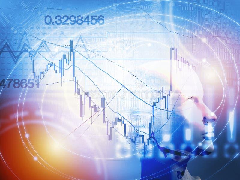 与人工智能的定量股票和外汇贸易的概念 免版税库存图片
