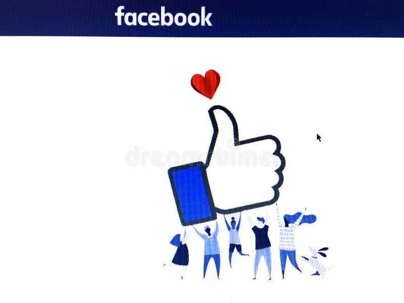 与人形象的Facebook页运载象标志的a 库存图片