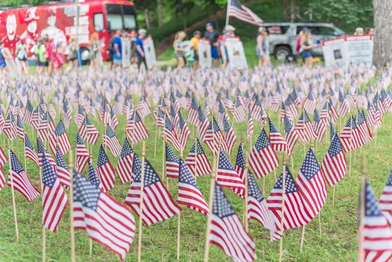 与人模糊的行的草坪美国国旗运载横幅游行的下落的战士 免版税图库摄影