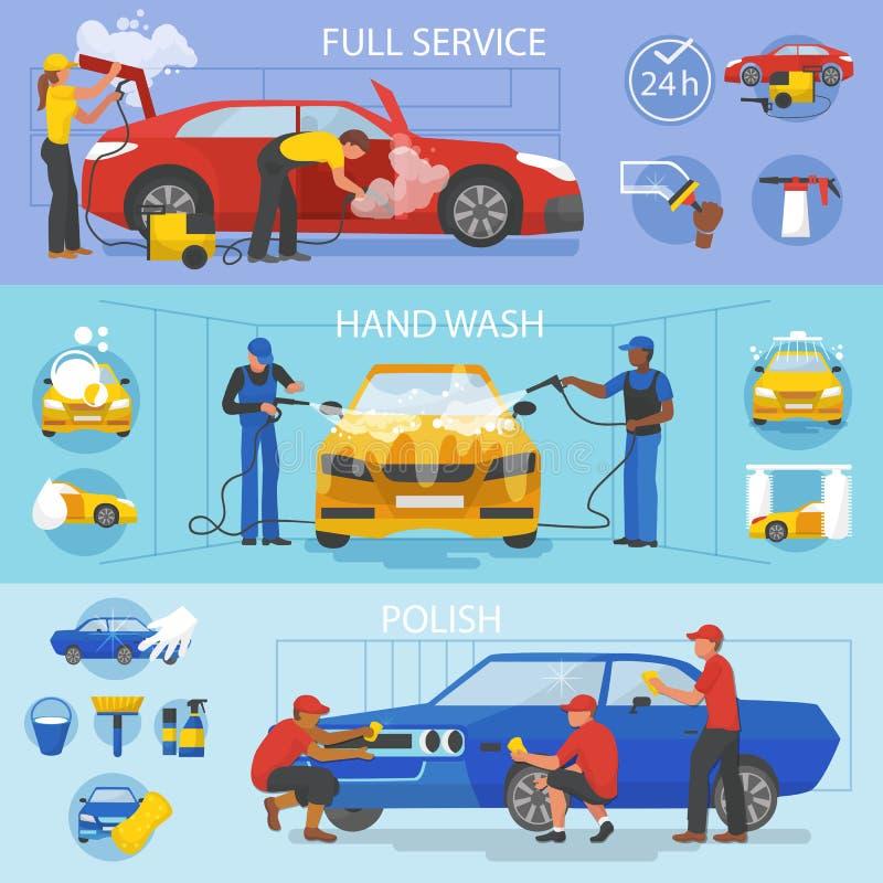 与人清洗的汽车或车例证套的洗车传染媒介车洗涤的服务洗车和字符 皇族释放例证