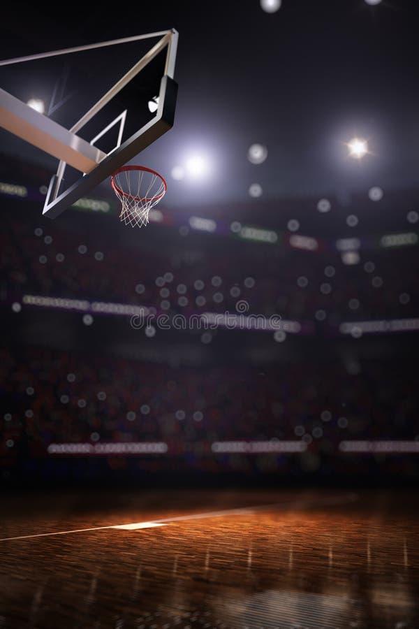 与人爱好者3d的篮球场回报背景 免版税库存照片