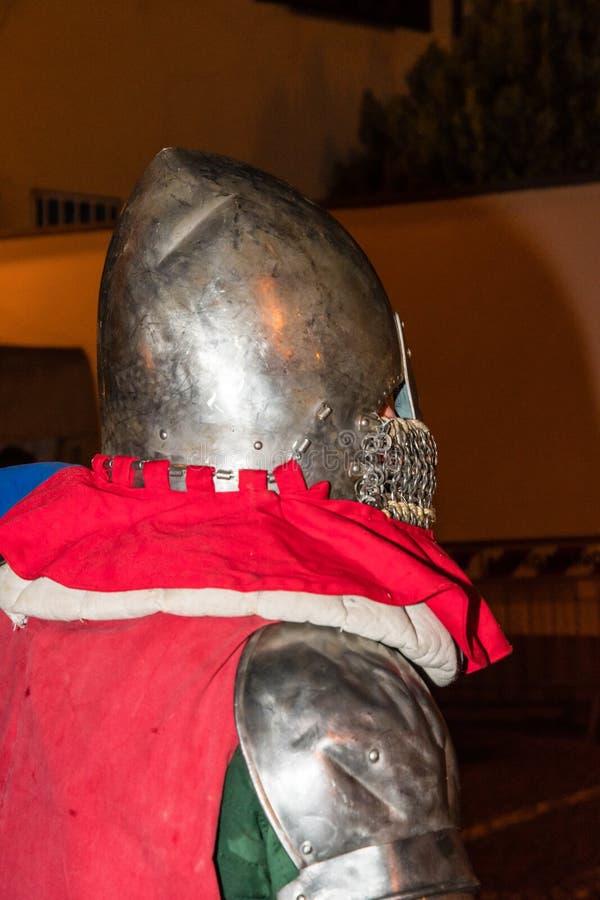 与人的中世纪历史再制定装甲的 免版税图库摄影