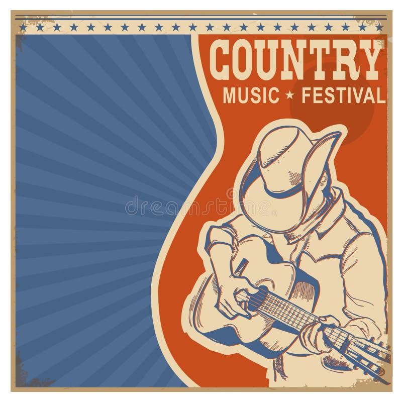 与人的乡村音乐背景减速火箭的海报的牛仔帽的 库存例证