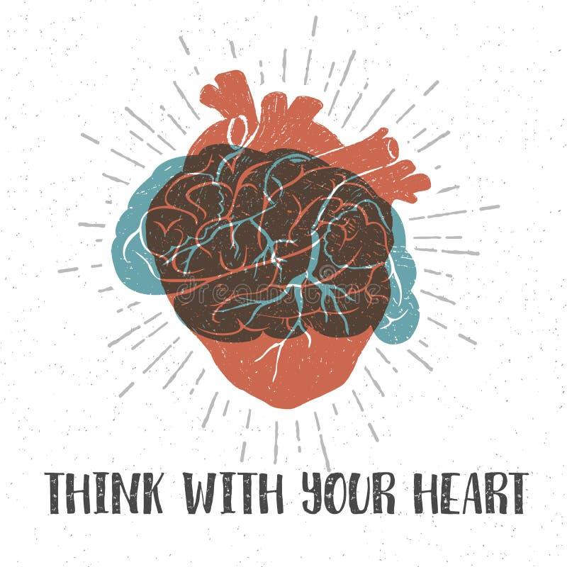 与人的心脏、脑子和字法的浪漫海报 库存例证