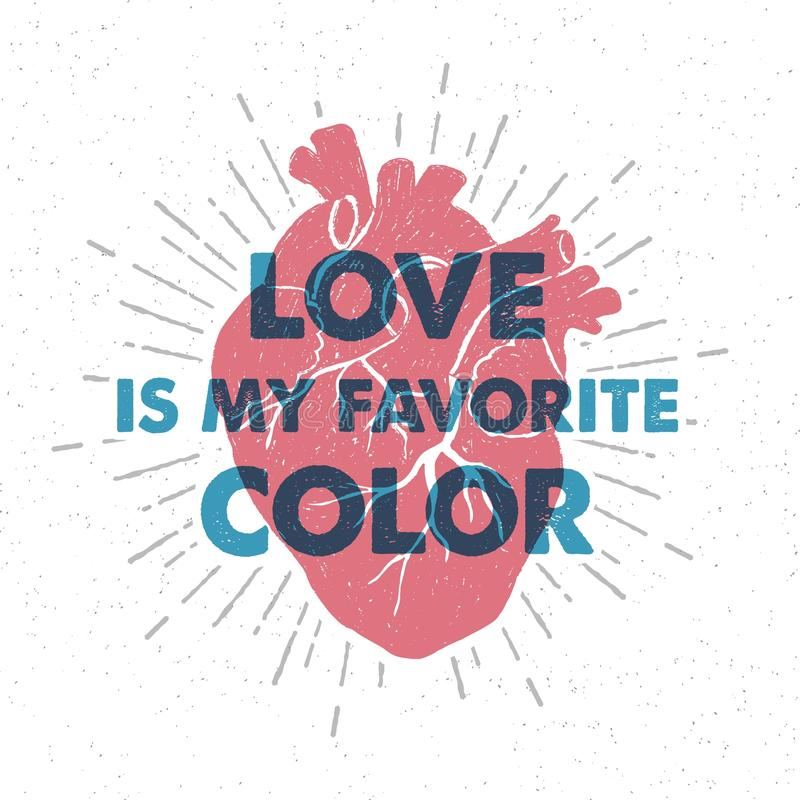 与人的心脏和字法的手拉的浪漫海报 向量例证