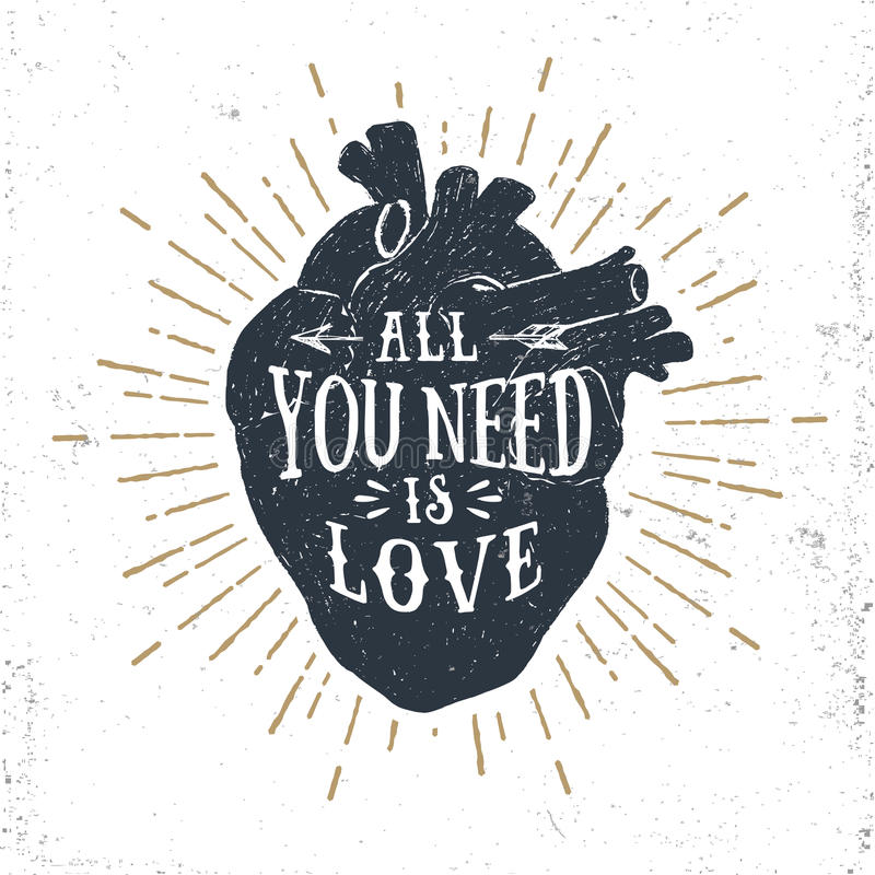与人的心脏和富启示性的字法的浪漫海报 库存例证