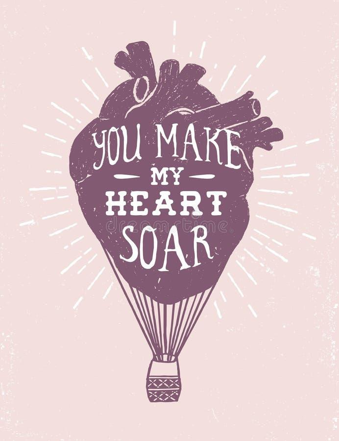 与人的心脏的浪漫海报作为一个热空气气球 库存例证