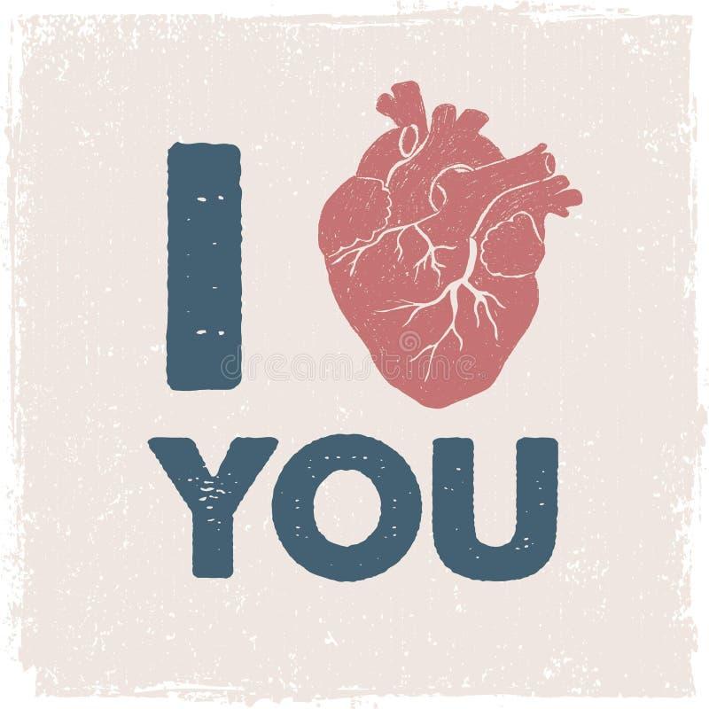 与人的心脏的浪漫海报 向量例证
