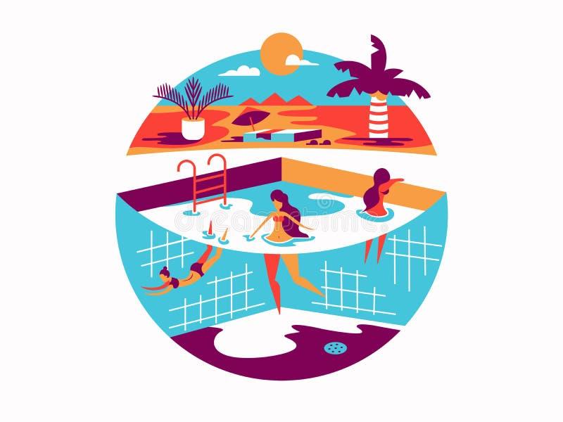 与人的游泳池在度假 皇族释放例证