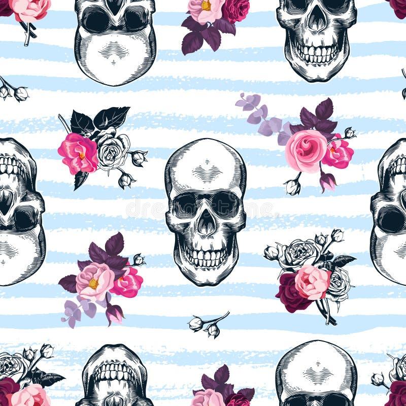 与人的头骨的无缝的样式和半色束在蚀刻的玫瑰称呼,并且蓝色水平的油漆在backgrou追踪 库存例证