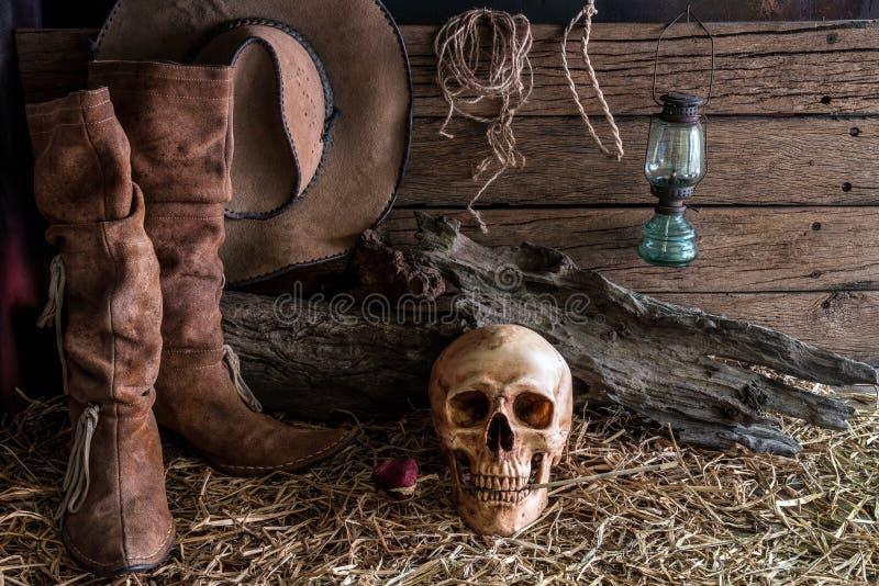 与人的头骨的静物画和在谷仓背景中上升了 库存图片