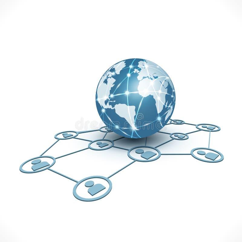 与人网络标志的世界通信&技术企业概念孤立白色背景、传染媒介&例证的 库存例证
