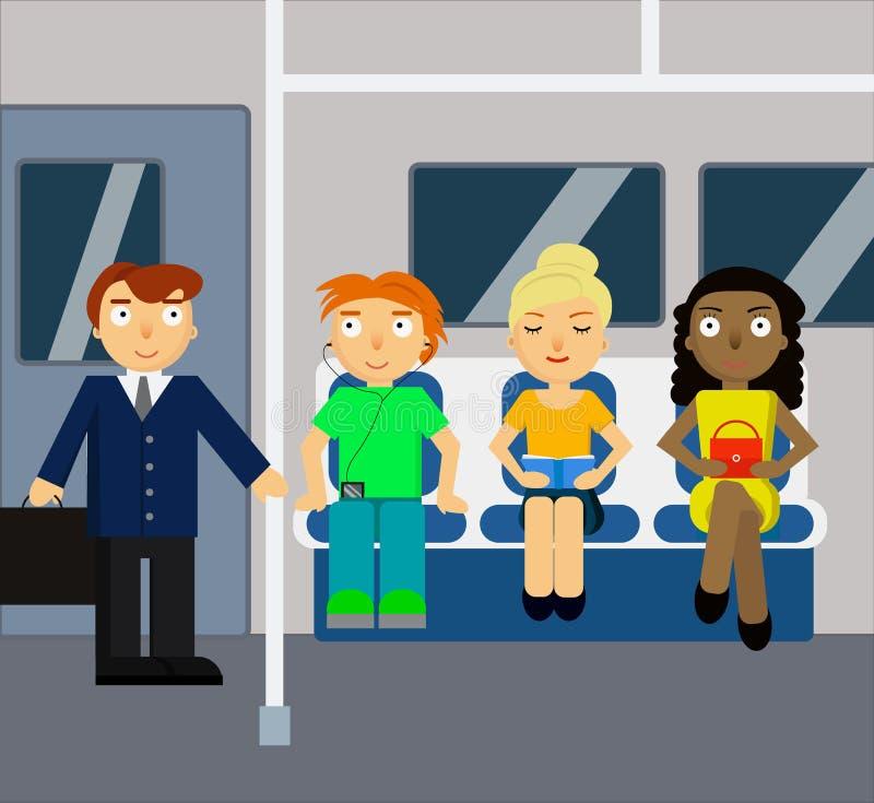 与人群的地铁场面 库存例证