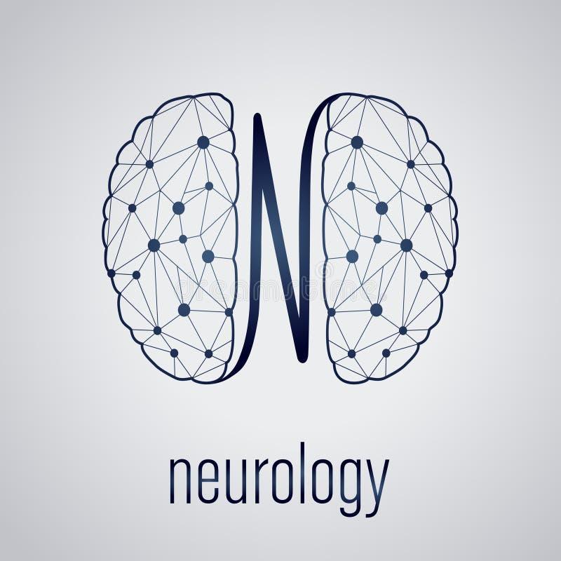 与人脑的抽象创造性的神经学概念 向量例证