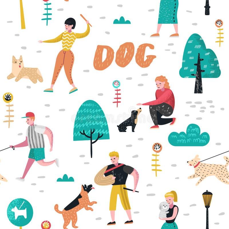 与人训练狗的无缝的样式在公园 走外面有宠物背景的字符 库存例证