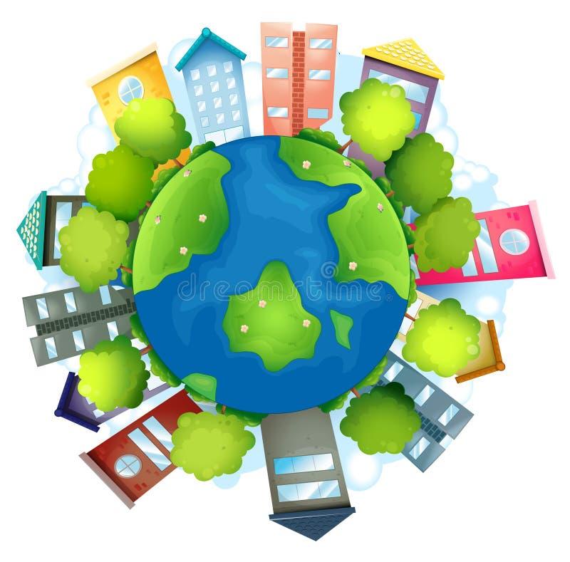 与人造大厦和自然资源的地球 向量例证