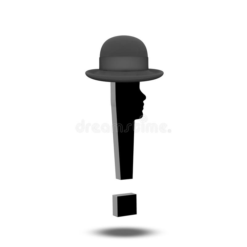 与人面帽子的惊叹号 皇族释放例证