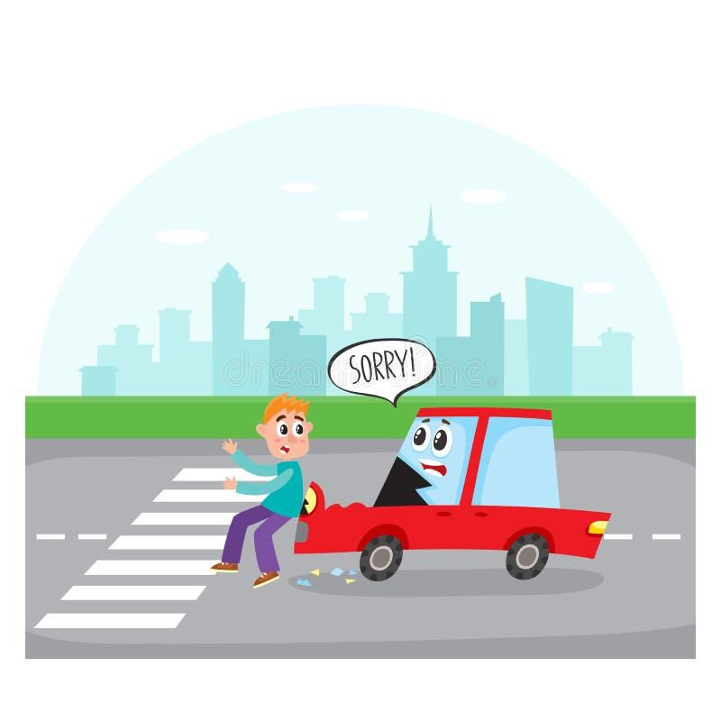 与人面的汽车字符击中一个步行者 库存例证