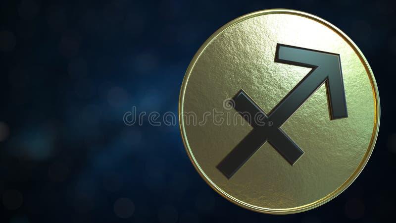 与人马座黄道带标志的金象征 3d?? 皇族释放例证
