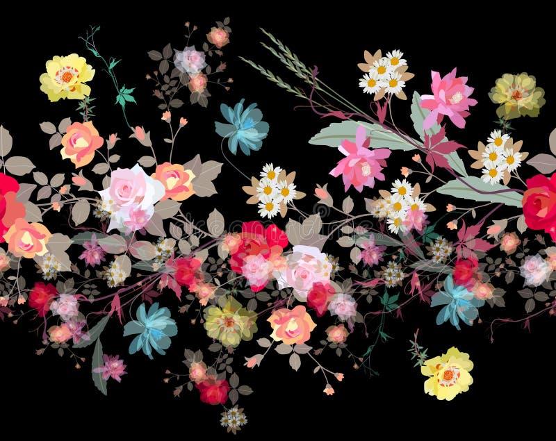 与从事园艺的流程诗歌选的豪华无缝的花卉背景  库存例证