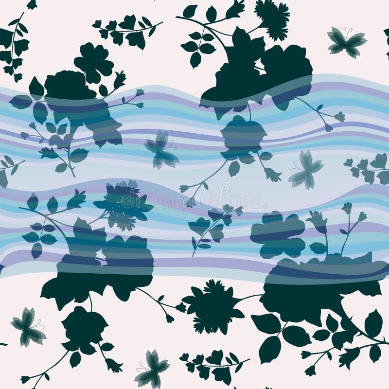 与从事园艺的花和蝴蝶剪影的无缝的抽象花卉样式在波浪背景 库存例证