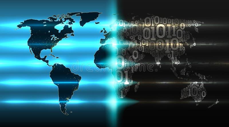 与从二进制编码的世界地图有抽象电路板背景  数字技术改造世界 向量例证