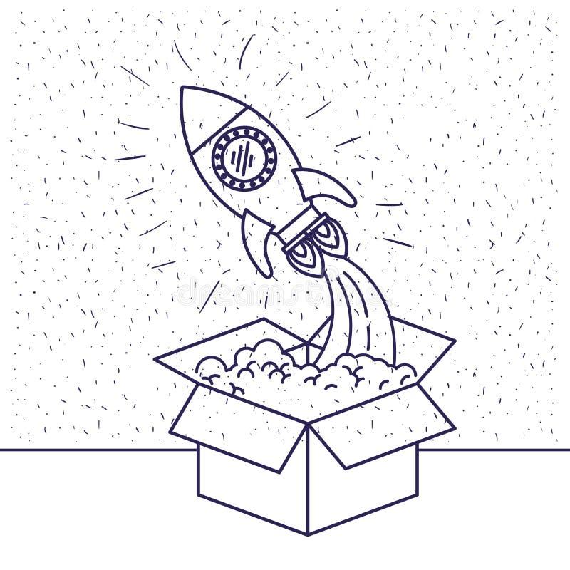 与从箱子出来的太空火箭蓝色剪影的白色背景 向量例证