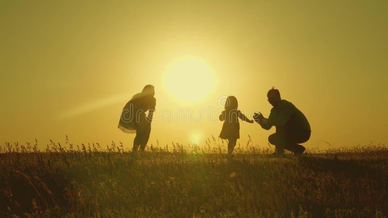 与他们的女儿的母亲和爸爸戏剧在阳光下 愉快的婴孩从爸爸去妈妈 在领域的年轻家庭与a 免版税库存图片