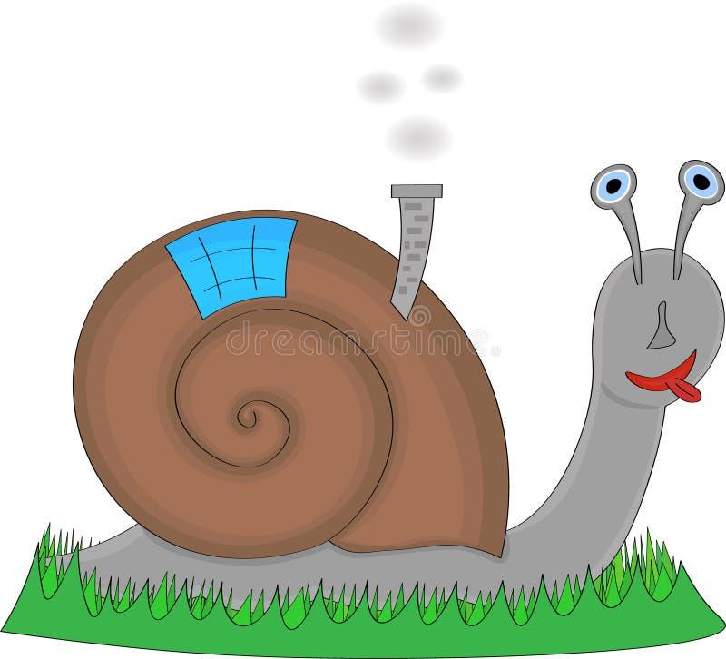 与他的家的例证蜗牛后面的 库存例证