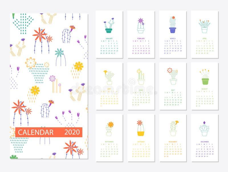与仙人掌多汁植物的日历2020集合在minimalistic 皇族释放例证