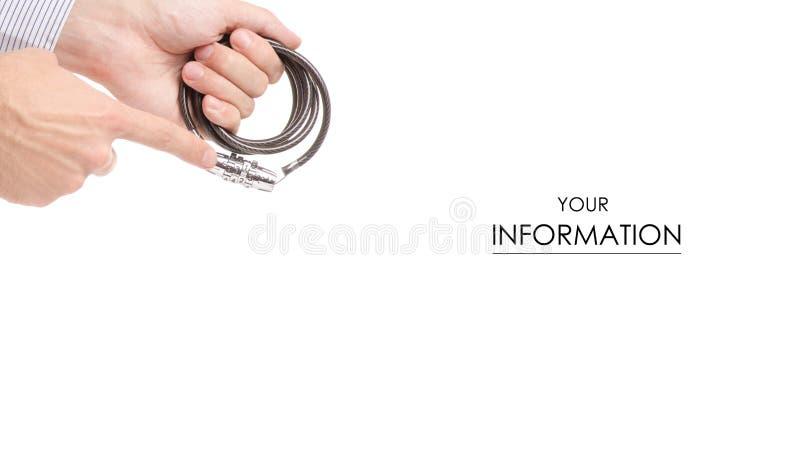 与代码锁手中样式的缆绳 免版税库存照片