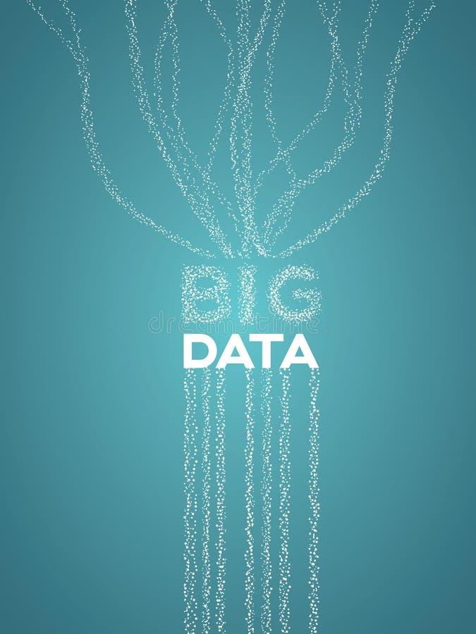 与代表数据流、汇集和分析的线和小点的大数据形象化传染媒介概念 皇族释放例证