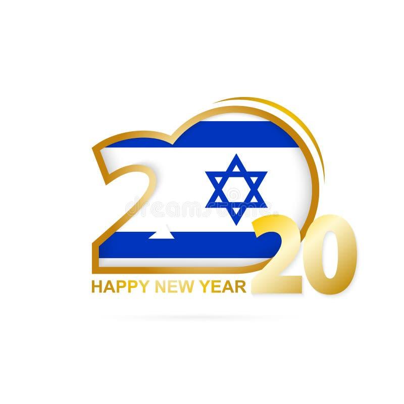 与以色列旗子样式的年2020年 新年快乐设计 库存例证