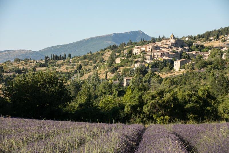 与以远Aurel村庄的淡紫色领域,横谷,普罗旺斯, 库存图片