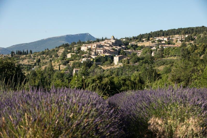 与以远Aurel村庄的淡紫色领域,横谷,普罗旺斯, 库存照片