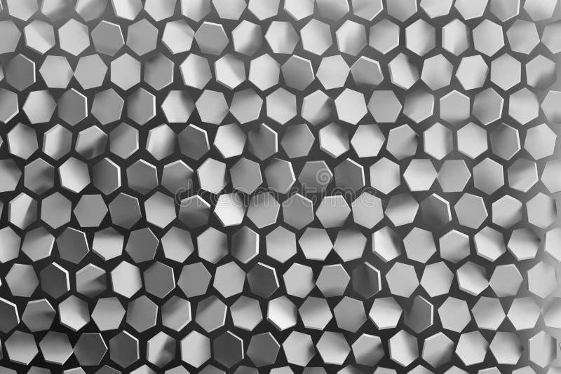 与任意地被安排的六角形状的背景在灰色颜色 皇族释放例证